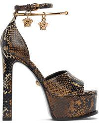 Versace Snake Medusa Platform Sandals - Brown