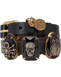 Alexander McQueen Black Three Stones Double Wrap Bracelet