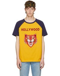 Gucci - Yellow & Blue 'hollywood' Tiger T-shirt - Lyst