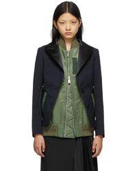 Sacai Navy & Khaki Suiting Mix Blazer - Blue