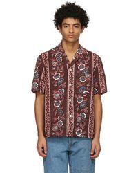 Bode Burgundy Century Floral Short Sleeve Shirt - Red