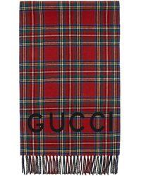 Gucci - Foulard en laine et cachemire rouge Tartan - Lyst