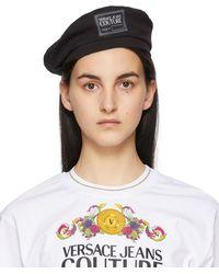 Versace Jeans Couture Black Institutional Logo Beret - Multicolor