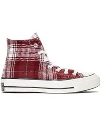Converse - Burgundy Plaid Chuck 70 High Sneakers - Lyst