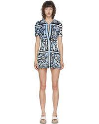 Fendi Robe courte en tissu eponge bleue edition Joshua Vides