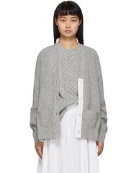 Sacai Cardigan en maille de laine gris et blanc