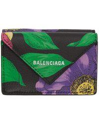 Balenciaga ブラック フローラル ミニ ペーパー ウォレット