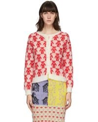 Ashley Williams White And Red Mohair Teddies Cardigan