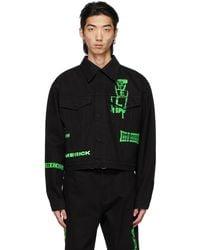 we11done Black Denim Neon Logo Jacket