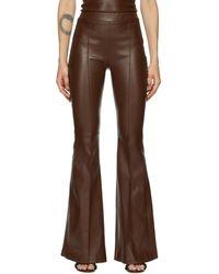 Rosetta Getty Pantalon évasé en cuir brun pintuck - Marron