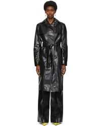 Kwaidan Editions Rubberized Belted Coat - Black