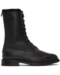 Thom Browne ブラック シアリング ロングウィング Commando ブーツ