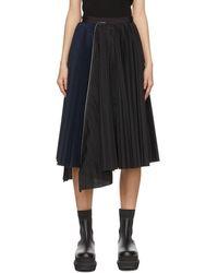 Sacai ブラック & ネイビー プリーツ スカート
