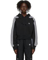 adidas Originals ブラック クロップド Adicolor Classics フーディ