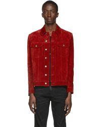 Saint Laurent Suede Jacket - Red