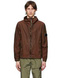 C P Company Burgundy P.ri.s.m. Lens Arm Hooded Jacket - Brown