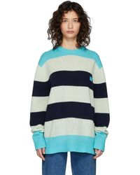 Acne Studios Oversized Striped Sweater multi Turquoise - Blue