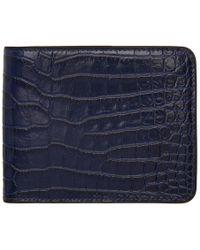 Dries Van Noten - Portefeuille a deux volets embosse facon croco bleu - Lyst