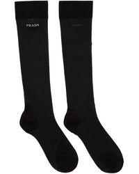 Prada - Black Mesh Logo Socks - Lyst