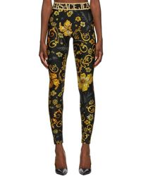 Versace Jeans Couture Black Printed Leggings