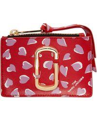 Marc Jacobs Porte-cartes à glissière rouge Snapshot Hearts Top