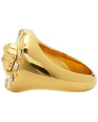 Versace Gold Palazzo Crystal Medusa Round Ring - Metallic