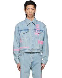 we11done Blue Denim Neon Logo Jacket