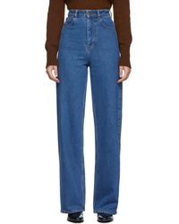 AMI Blue Oversized Wide-leg Jeans
