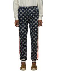 Gucci Navy GG Jacquard Lounge Pants - Blue