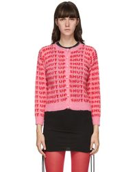 Ashley Williams Pink & Red Mohair 'shut Up' Cardigan
