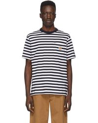 Carhartt WIP ホワイト And ネイビー Scotty ポケット T シャツ - ブルー