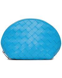 Bottega Veneta Blue Intrecciato Cosmetic Pouch