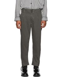 Ann Demeulemeester - Black And Beige Cotton Buckley Trousers - Lyst