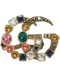 Gucci   Gold And Multicolour Crystal Gg Multi-finger Ring   Lyst