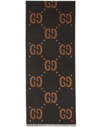 Gucci - Grey And Brown Wool GG Scarf - Lyst