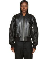 Juun.J - Black Leather Sign Society Bomber Jacket - Lyst