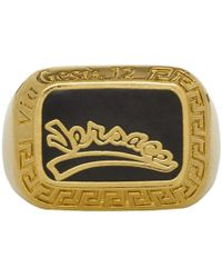 Versace - Gold And Black Varsity Ring - Lyst