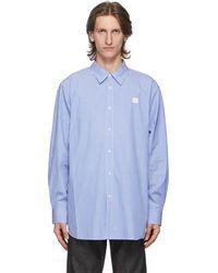 Acne Studios ブルー And ホワイト パッチ ストライプ シャツ