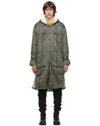 Greg Lauren Green Washed Satin Long Hooded Coat