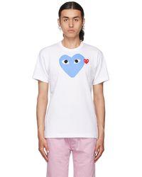 COMME DES GARÇONS PLAY ホワイト & ブルー Heart T シャツ