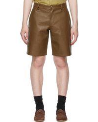 Han Kjobenhavn Brown Vegan Leather Suit Shorts