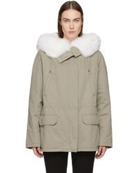 Army by Yves Salomon Grey Classic Short Fur-lined Parka