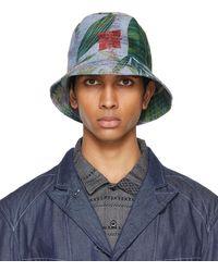 Engineered Garments ブルー フローラル バケット ハット