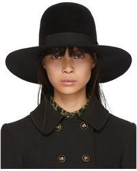 Dolce & Gabbana ブラック ラビット ファー フェドラ