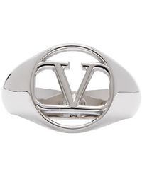 Valentino Garavani Silver Vlogo Signet Ring - Metallic
