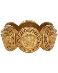 Versace - ゴールド ロゴ リング - Lyst