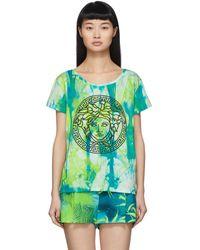 Versace グリーン ウォーターカラー メドゥーサ T シャツ