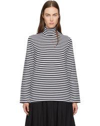 Hyke Navy & White Striped Turtleneck - Blue