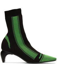 MISBHV ブラック And グリーン アクティブ スクエア アンクル ブーツ