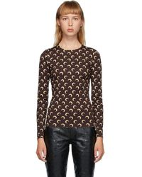 Marine Serre Brown And Beige Moon Allover Long Sleeve T-shirt